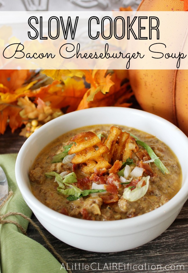 Delicious and hearty Slow Cooker Bacon Cheeseburger Soup - Crock Pot Meals Made Easy
