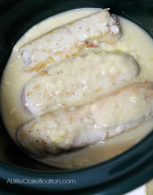 Creamy Crock Pot Chicken Saltimbocca by ALittleClaireification.com #italian #crockpot #foodie